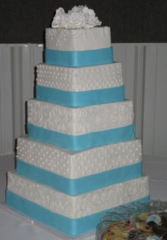 5 Tier Buttercream w/Fondant Ribbon & Sugar Roses