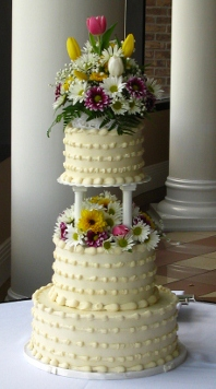 Ivory Buttercream 3 tier w/ Fresh Spring Florals