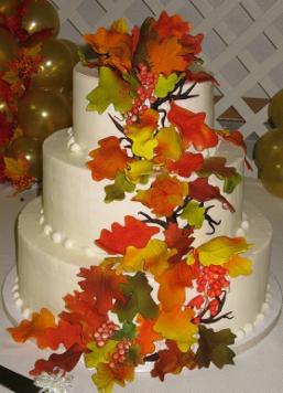 Wedding Cake Gallery 3 Tier Round Fondant Fall Leaves 014