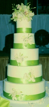 5 Tier Buttercream Ribbon & Fresh Orchids  0017