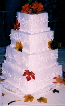 4 Tier White Square Fall Leaf 0021