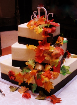 3 Tier Square with Chocolate Ribbon and Fondant Fall Leaves 0077